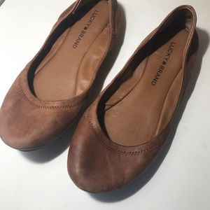 Lucky brand brown tan leather flats